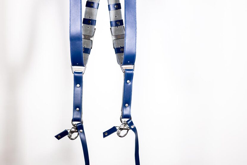Blue leather strap for photographers