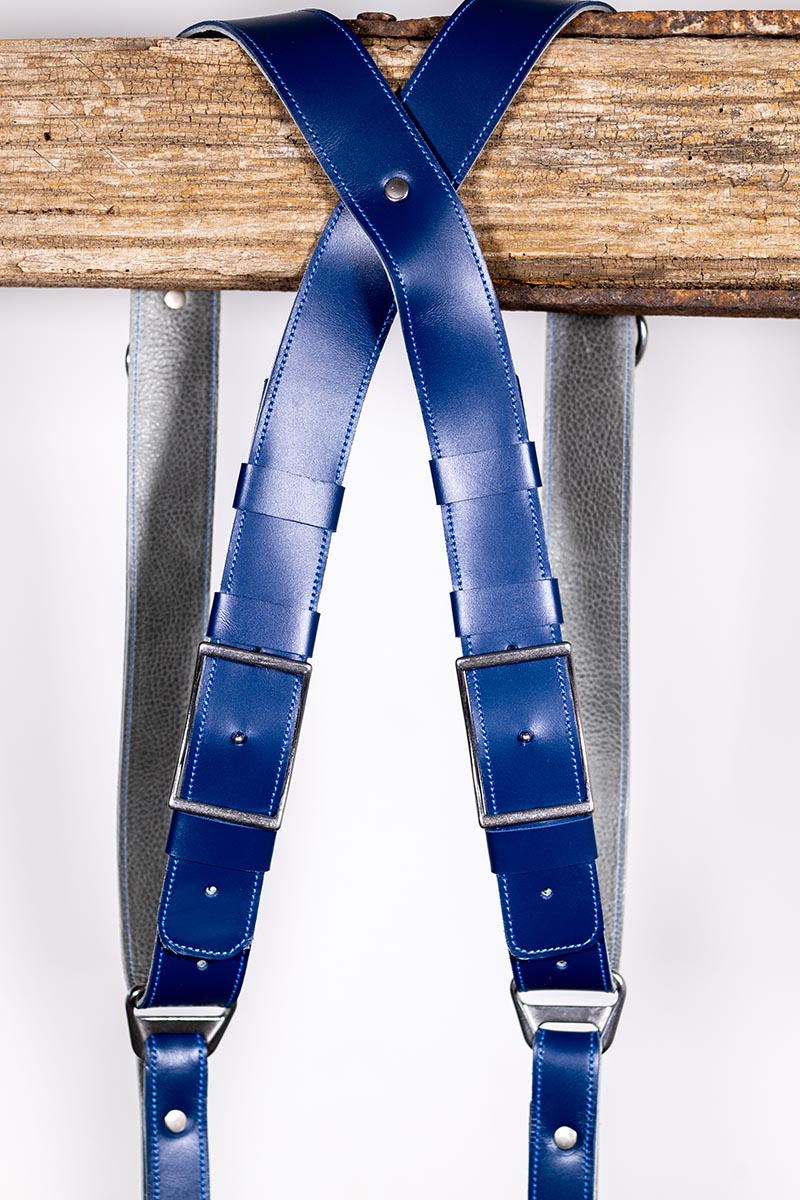 Blue Shanty leather strap for photographers