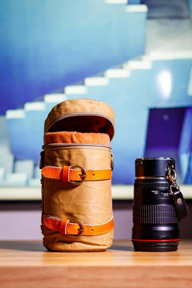 Lens case pouch canvas