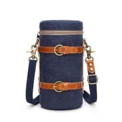 Lens case pouch canvas blue navy