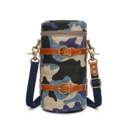 Lens case pouch canvas blue camouflage navy