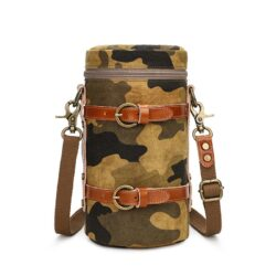 Lens case pouch canvas camouflage yellow