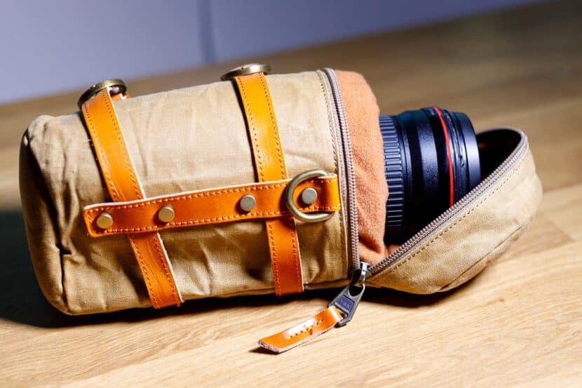 Lens case pouch canvas khaki