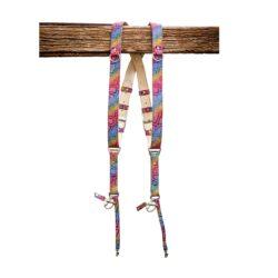 Rainbow LEATHER strap harness